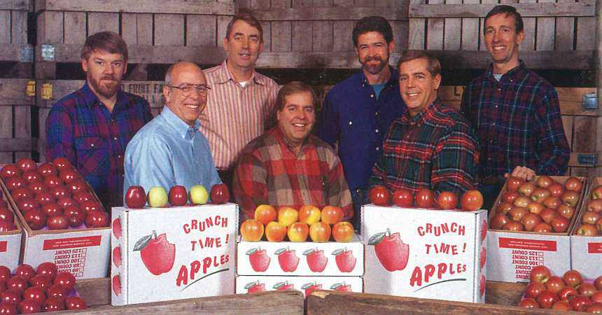 Key players in the success of the award-winning Lynd Fruit Farm Inc. in Pataskala, Ohio are shown here: front row (left to right) Mitch, Lester, and David Lynd; back row (left to right) John Kammeyer, Steve Lynd, Dick Wander, and Andy Lynd.