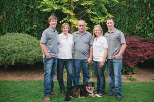 The Wells family, (L-R) Darren, Diane, Dan, Stephanie (Dylan's wife), Dylan, (and dog Tex,) has been successful with their mini pumpkin business. Photo Credit: Jay Eads