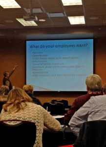 Bernie Erven, a professor emeritus at Ohio State University, offers OPGMA attendees advice on what their employees are seeking during a human resource-themed presentation.