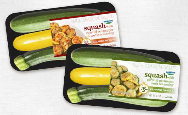 Baloian Farms Squash Sauté Kit with Seasonings kits are available in two flavors including Parmesan with Herbs and Roasted Red Pepper. Photo credit: Baloian Farms