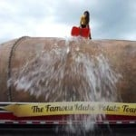 Showing its support for one of the most popular fundraisers ever, the Idaho Potato Commission's Great Big Idaho Potato Truck nominated the Florida Department of Citrus, Washington Apples, and Georgia Peaches to accept the ALS Ice Bucket Challenge. Photo credit: Idaho Potato Commission