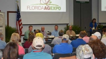 The grower panel kicked off the program at the 2014 Florida Ag Expo. Multiple topics were explored to explain how the participants find fixes on the farm. Transparency, social media marketing, and labor efficiencies were discussed by each. In addition, several questions from the audience kept the conversation going. Photo by Frank Giles