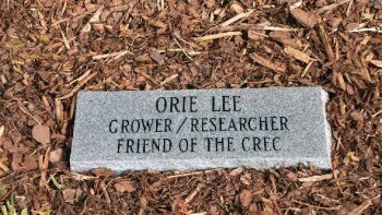 Dedication stone for Orie Lee at Citrus Research and Education Center