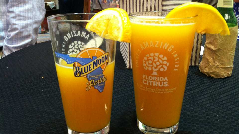 "The ""BeerMosa,"" featuring Florida orange juice and slice, teamed with Blue Moon Brewing Co. ale"