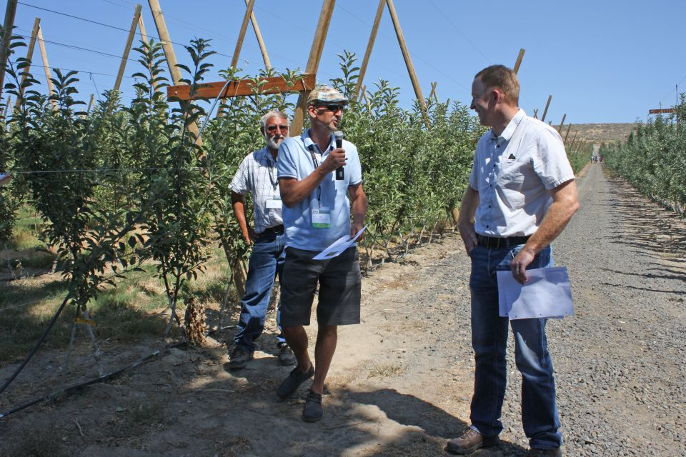 IFTA board member, Bill Dodd, (center) presents Scott Jacky with a certificate in recognition of hosting the study tour stop. Dodd noted he was nominated for the presentation job in part because of Valley Fruit's Buckeye Gala plantings since the original parent is an Ohio-native, like Dodd. (Photo Credit: Christina Herrick)