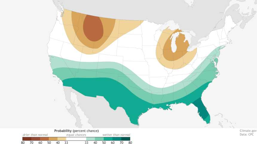 NOAA precipitation outlook for winter 2015-2016
