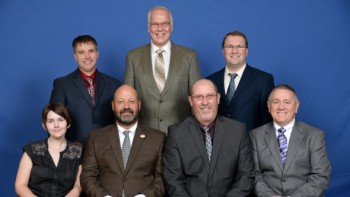 The 2016 NPC Executive Committee includes (standing, from left to right): Cully Easterday, Larry Alsum, Dominic LaJoie. Seated, from left to right includes Britt Raybould, Jim Tiede, Dan Lake, Dwayne Weyers.