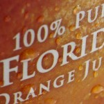 Florida orange juice label close-up