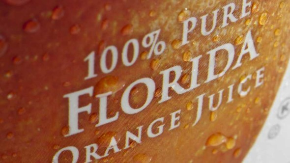 Florida orange juice label close-up