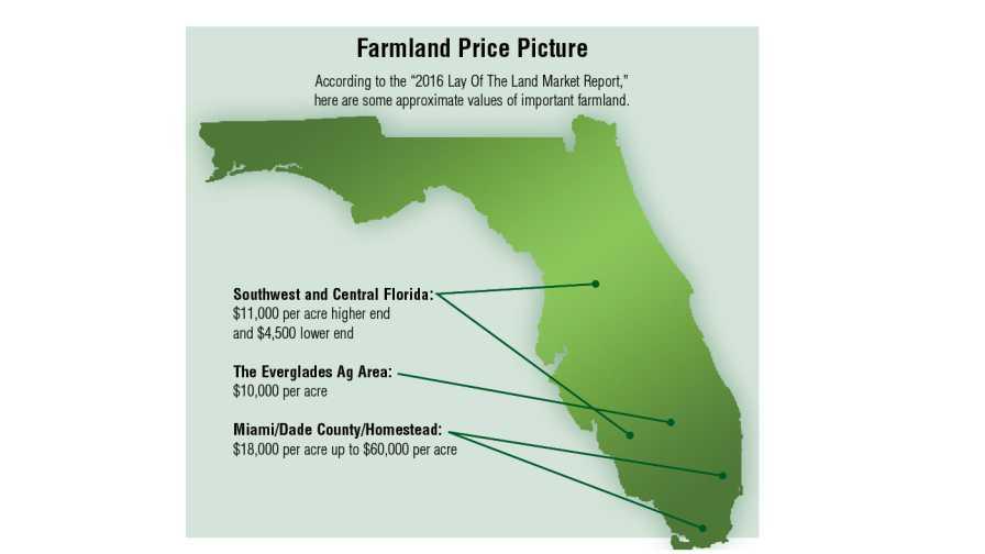 2016 Florida farmland price value infographic