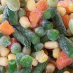 close-up of assorted frozen veggies