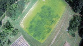 An aerial photo shows a checkerboard pattern of the cover crop project at the experiment station's Woodman Horticultural Research Farm. Credit: Rich Smith, University of New Hampshire