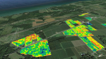 A vineyard map image showing data layered on Google Earth. (Photo credit: Google Earth and Cornell University)