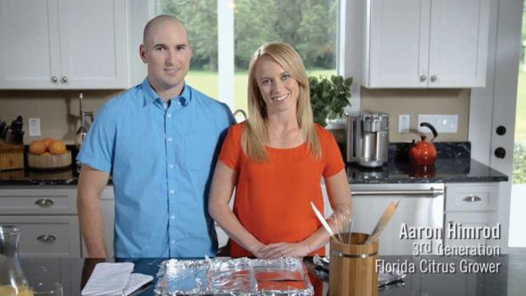 Florida Department of Citrus marketing video screenshot featuring Aaron Himrod and his wife Kristi