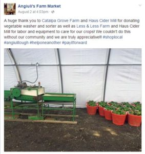 Anguili's Farm Market Facebook donated equipment shout outs