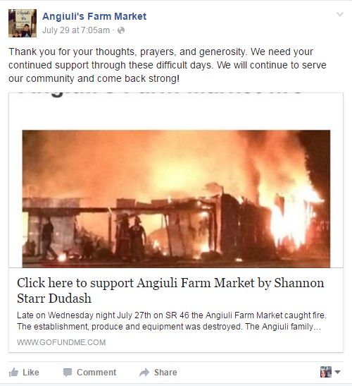 Anguili's Farm Market Facebook first fire post