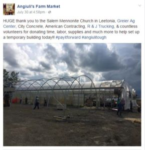 Anguili's Farm Market Facebook first major thank you to various community members