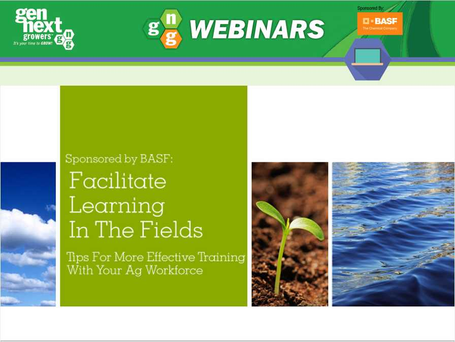 GenNext Growers webinar opening slide for how to Facilitate Learning In The Fields