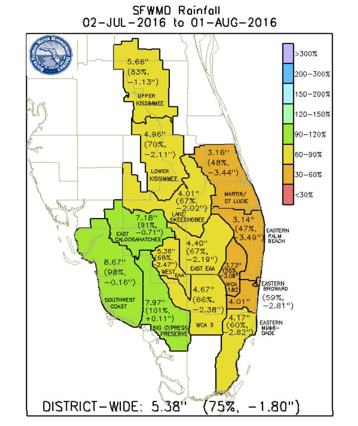 Map of July 2016 rainfall totals in South Florida