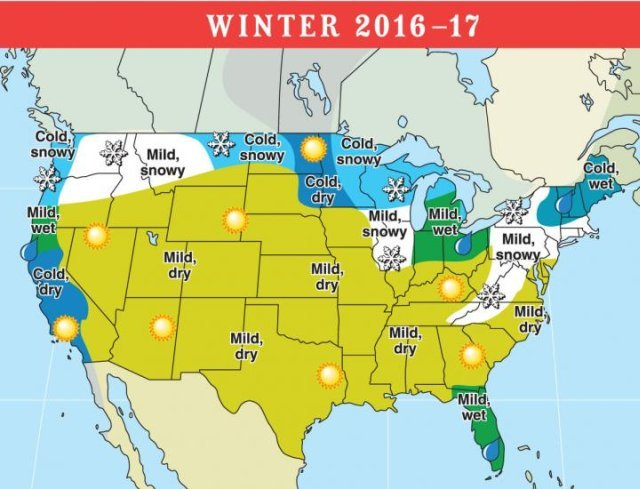 The Old Farmer's Almanac also predicts higher rainfall for Norther California, southern Oregon, the Lower Lakes region, and Florida. (Photo credit: The Old Farmer's Almanac)