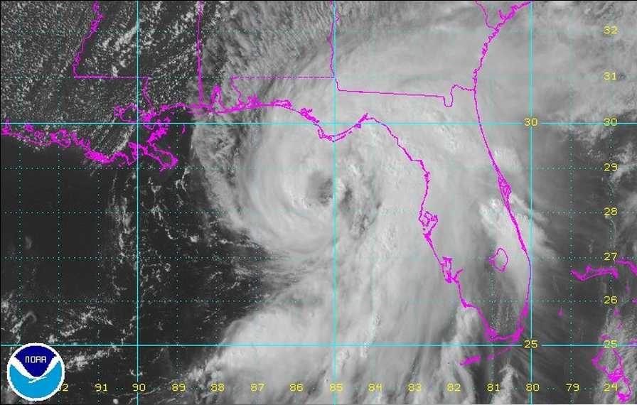 This satellite image captures Hurricane Hermine as it takes aim at Florida's Big Bend.