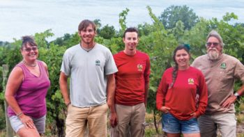 The team at Sawmill Creek Vineyards which includes Tina Hazlitt, Jason Hazlitt, Ryan Yaskulski, Courtney Griffin, and Eric Hazlitt take great pride in their vineyard, knowing their customers have come to depend the vineyard's attention to detail. (Photo credit: Christina Herrick)
