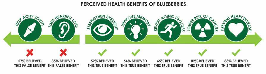 Graphic depicting consumers' perceived health benefits of blueberries