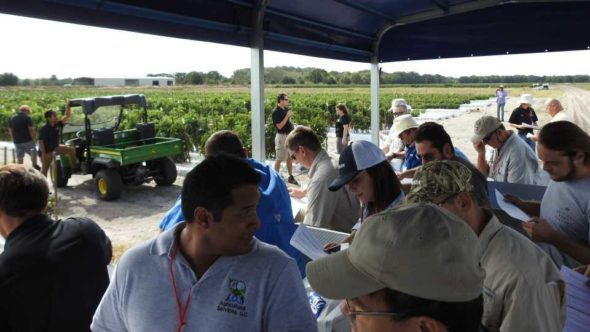 Inside the Horticulture field tour wagon at the 2016 Florida Ag Expo