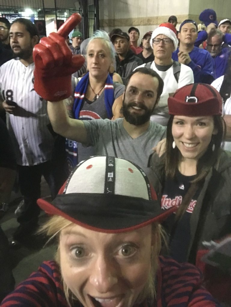 With our rally caps on, friends and I watched the final innings Game 7 of the World Series in Rally Alley outside of Progressive Field. (Photo credit: Christina Herrick)