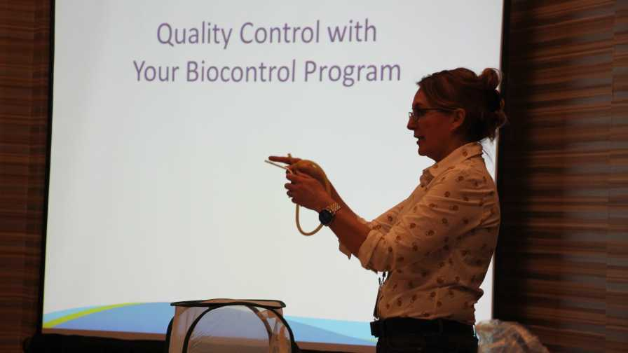 Suzanne Wainwright-Evans speaks to crowd at Biocontrols USA West 2017