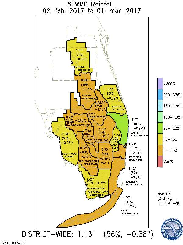 South Florida Water Management District Feb. 2017 rainfall map