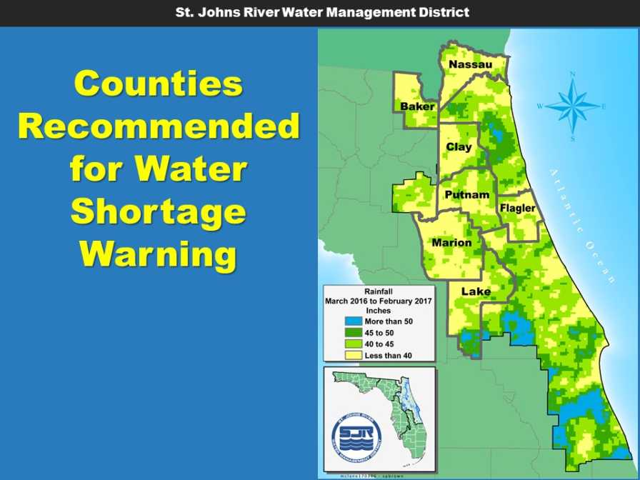 St. Johns River Water Management District 2016-2017 rainfall map