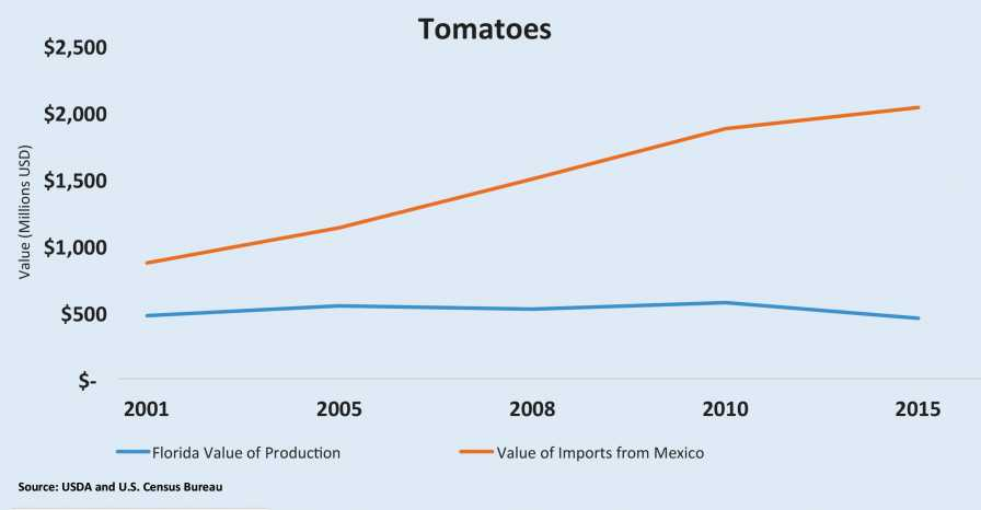 Imported tomatoes economic impact chart