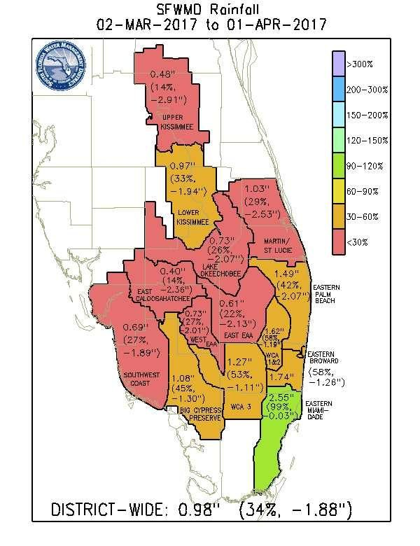 South Florida Water Management District March 2017 rainfall map