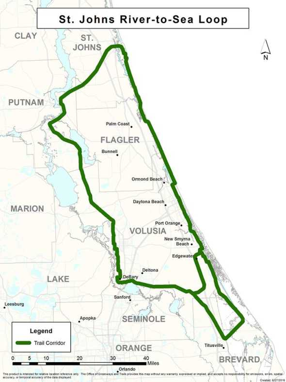 St. Johns River-to-Sea Loop map