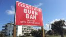 Burn ban sign posted along S.R. A1A in Flagler County, FL, due to drought conditions