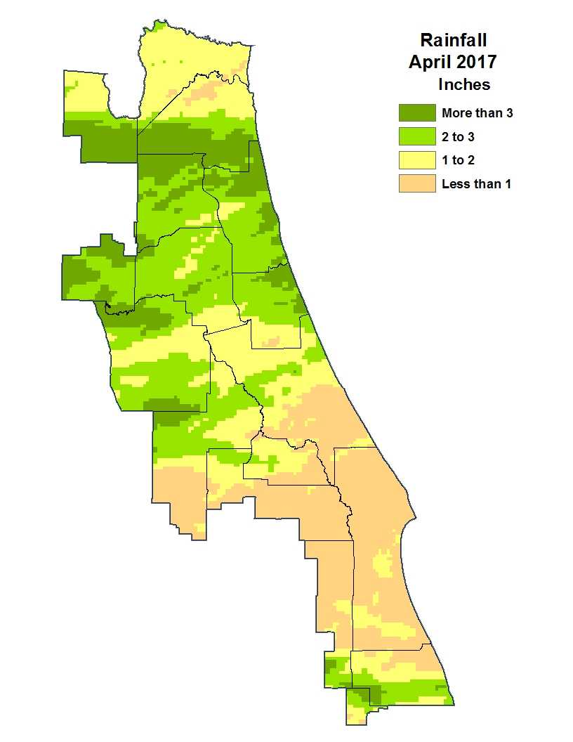 April 2017 rainfall map for St. Johns River Water Management District in Central Florida