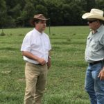 Jose Dubeux and Mack Glass talk farming in a Florida forage field