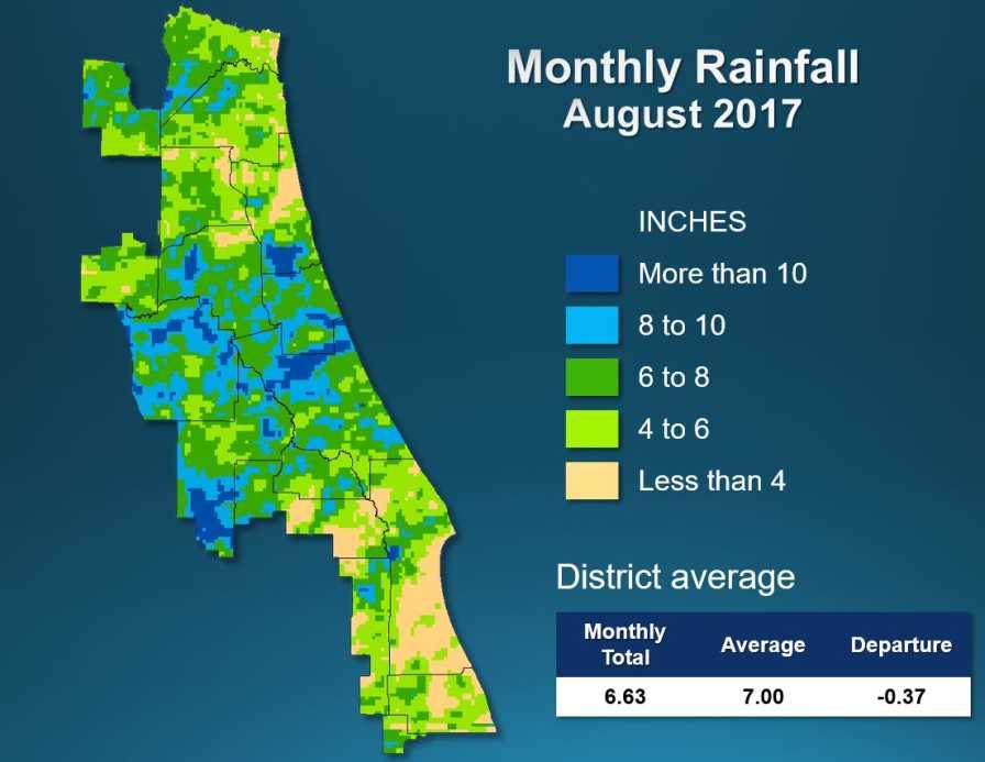 SJRWMD rainfall map for August 2017