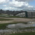 Greenhouse structures flattened by Irma at C&B Farms