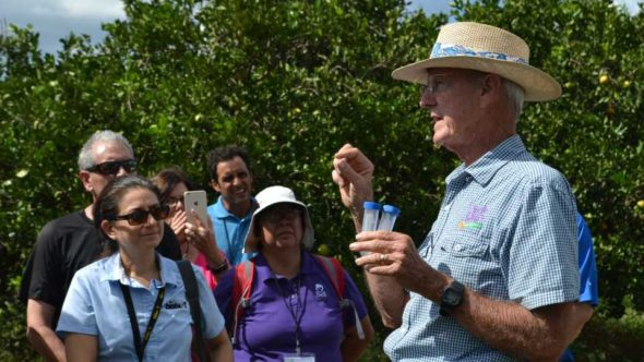 Benny McLean talks Tamarixia wasps during Biocontrols East 2017 tour