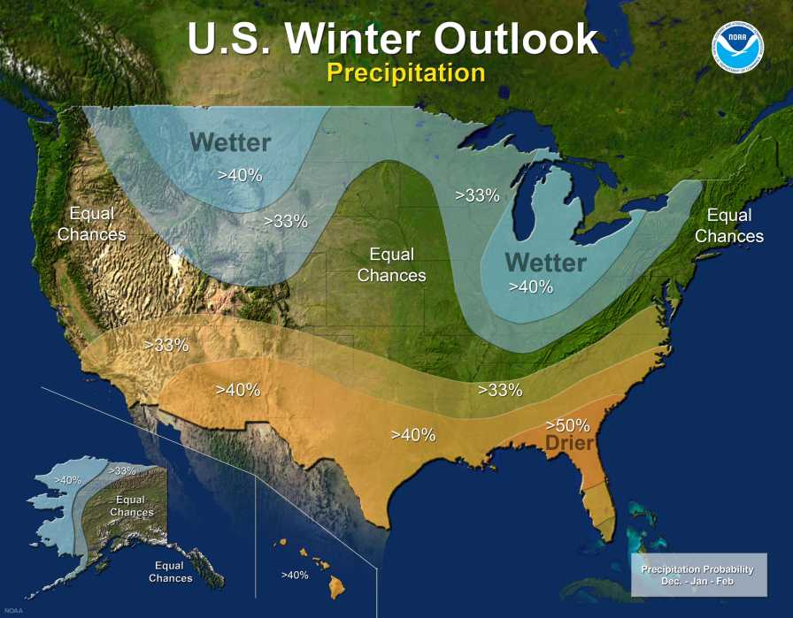 NOAA's 2017-18 winter precipitation forecast map