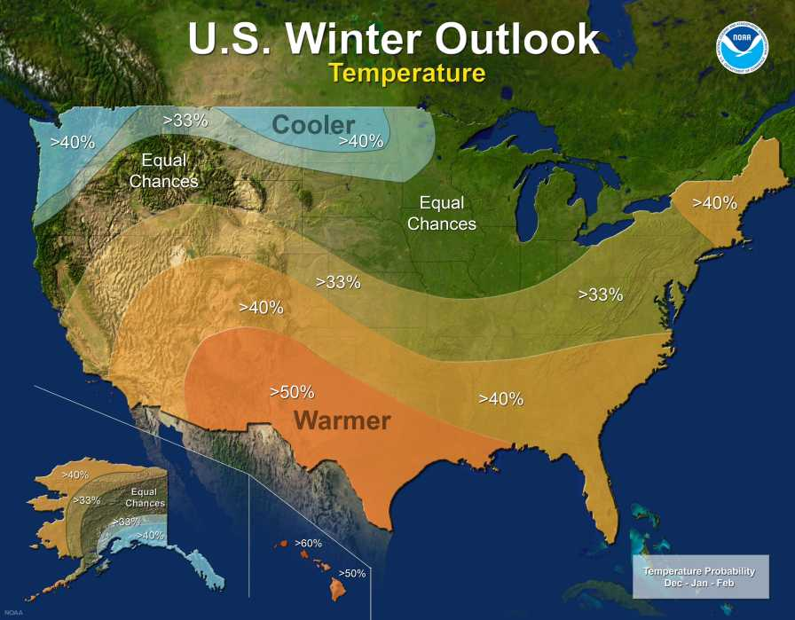 NOAA 2017-18 winter forecast temperature map