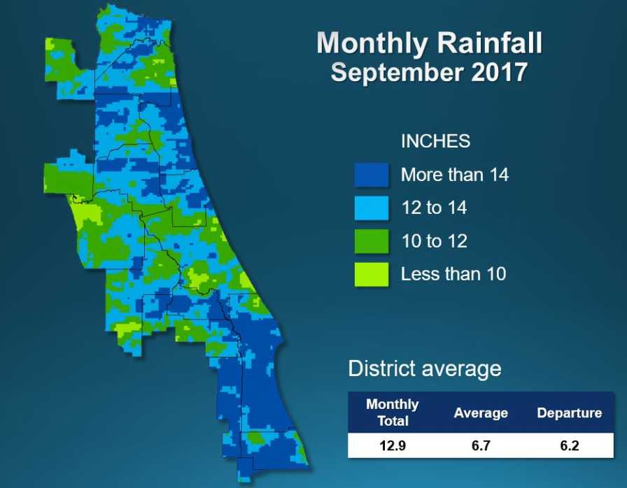 St. Johns River Water Management District Sept. 2017 rainfall map