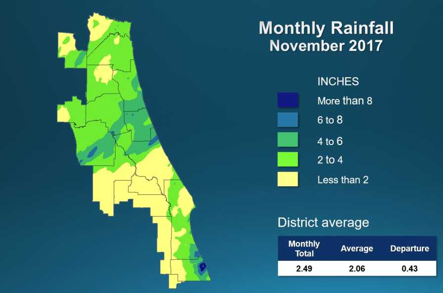 St. Johns River Water Management District rainfall map Nov. 2017