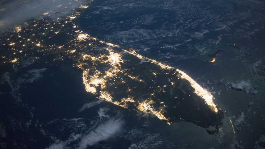 Satellite image of Florida at night