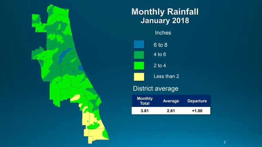 Florida St. Johns River Water Management District Jan. 2018 rainfall map