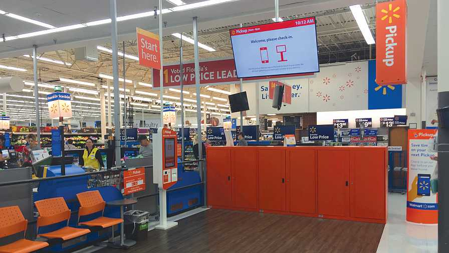 Customer pickup area at Walmart Supercenter