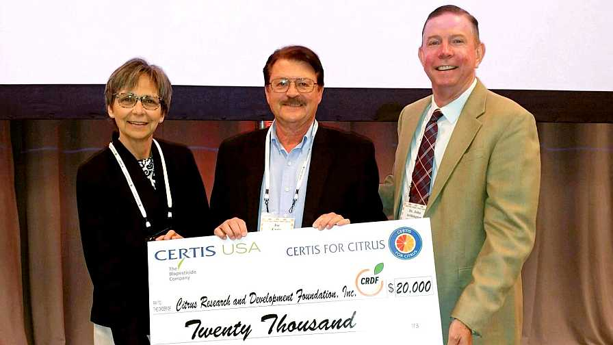 Certis for Citrus program check donation to CRDF